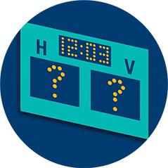A scoreboard showing a time of 12:03 features question marks in place of points below both the H and V teams