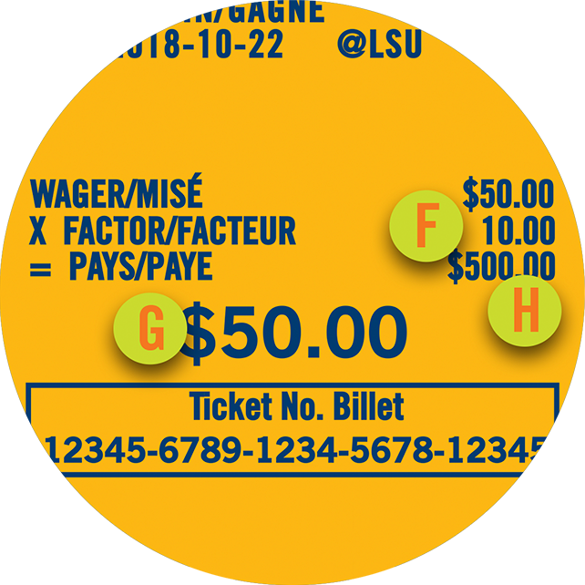 The portion of a POINT SPREAD ticket highlighting a payout factor of 10, the wager as $50 and the potential prize payout as $500.00