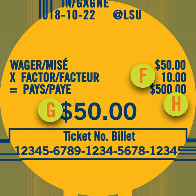 POINT SPREAD彩票上特别显示赔率为10、注码为$50,以及可能派彩金额为$500.00