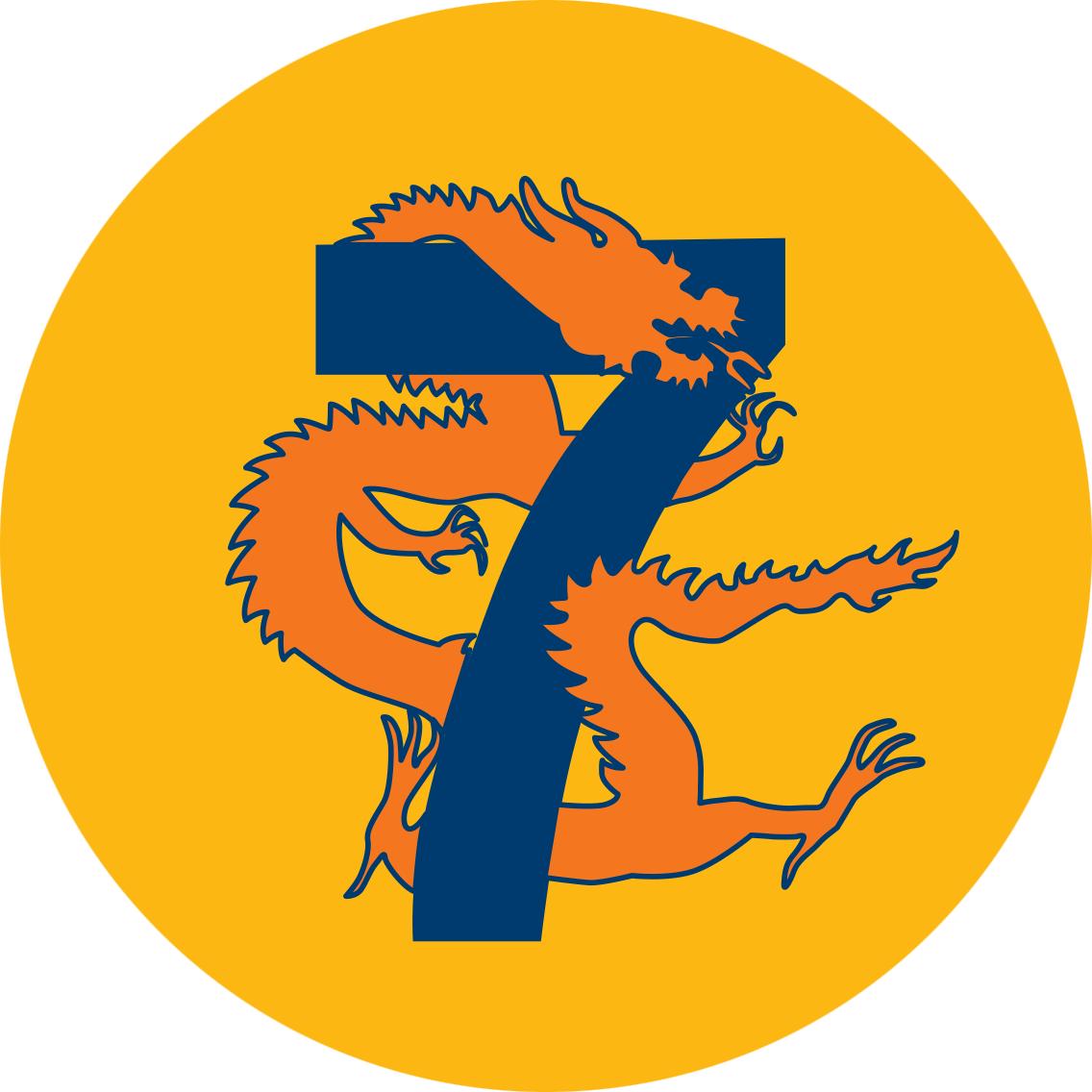 Un dragon enroulé autour d'un 7.