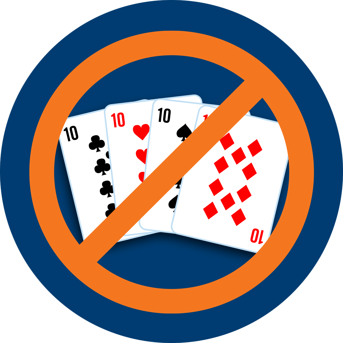 A 10 of clubs, hearts, spades and diamonds, crossed out with the international prohibition sign.