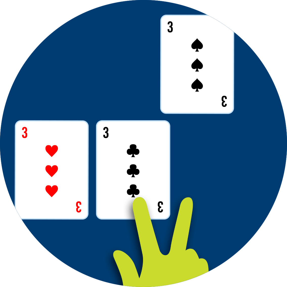 3 of spades splits from the original split of a 3 of hearts and 3 of clubs.