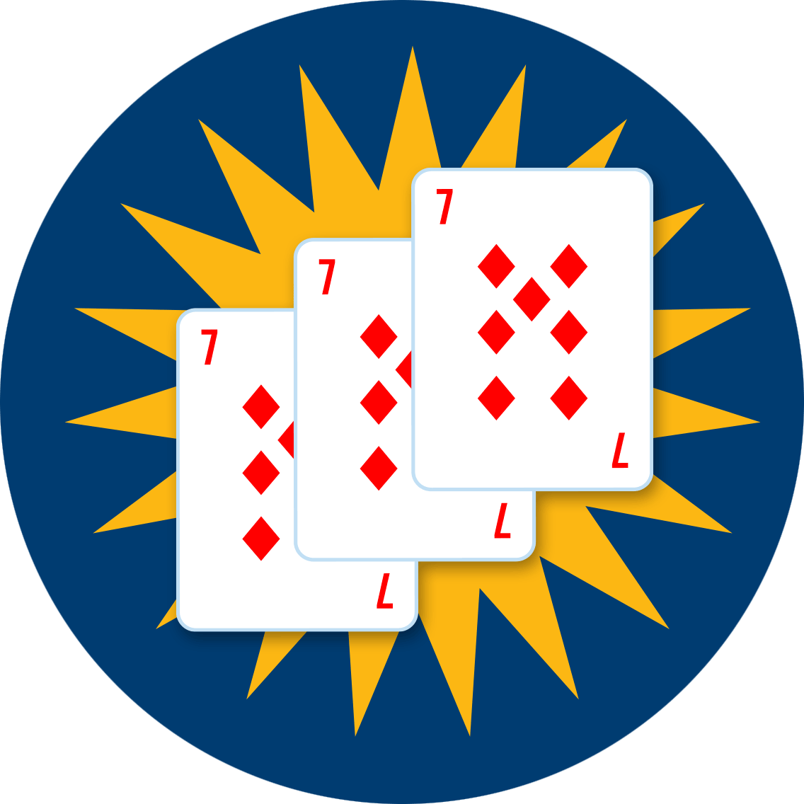 Three suited 7 of diamonds with a star-shape bonus behind it.