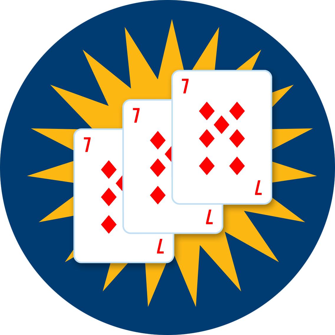 Trois 7 de carreau devant un boni en forme d'étoile.
