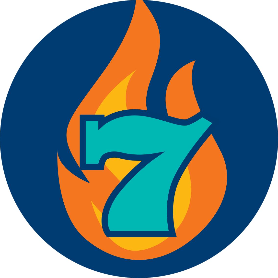一个数字7在一团火前方。