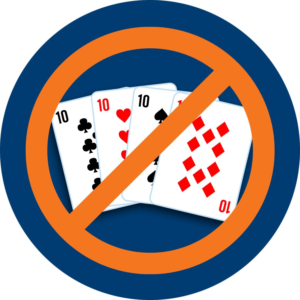 4張牌分別為梅花10、紅心10、黑桃10和方塊10,以國際禁止標誌被劃去。