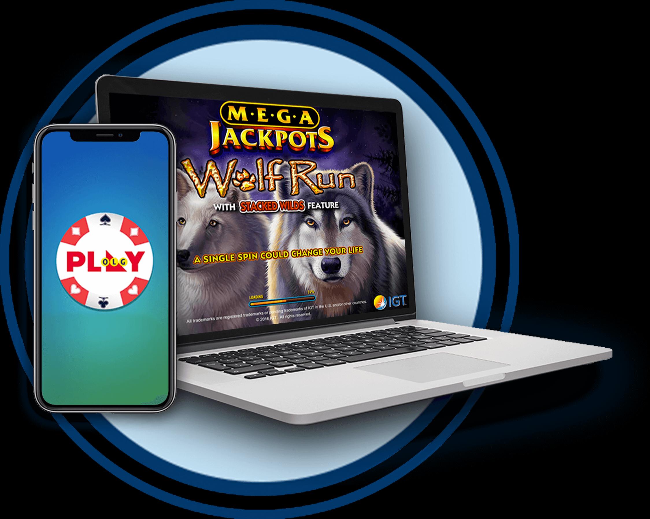 Logo de machines à sous (Wolf Run) sur un ordinateur portable avec un téléphone, le tout dans un cercle