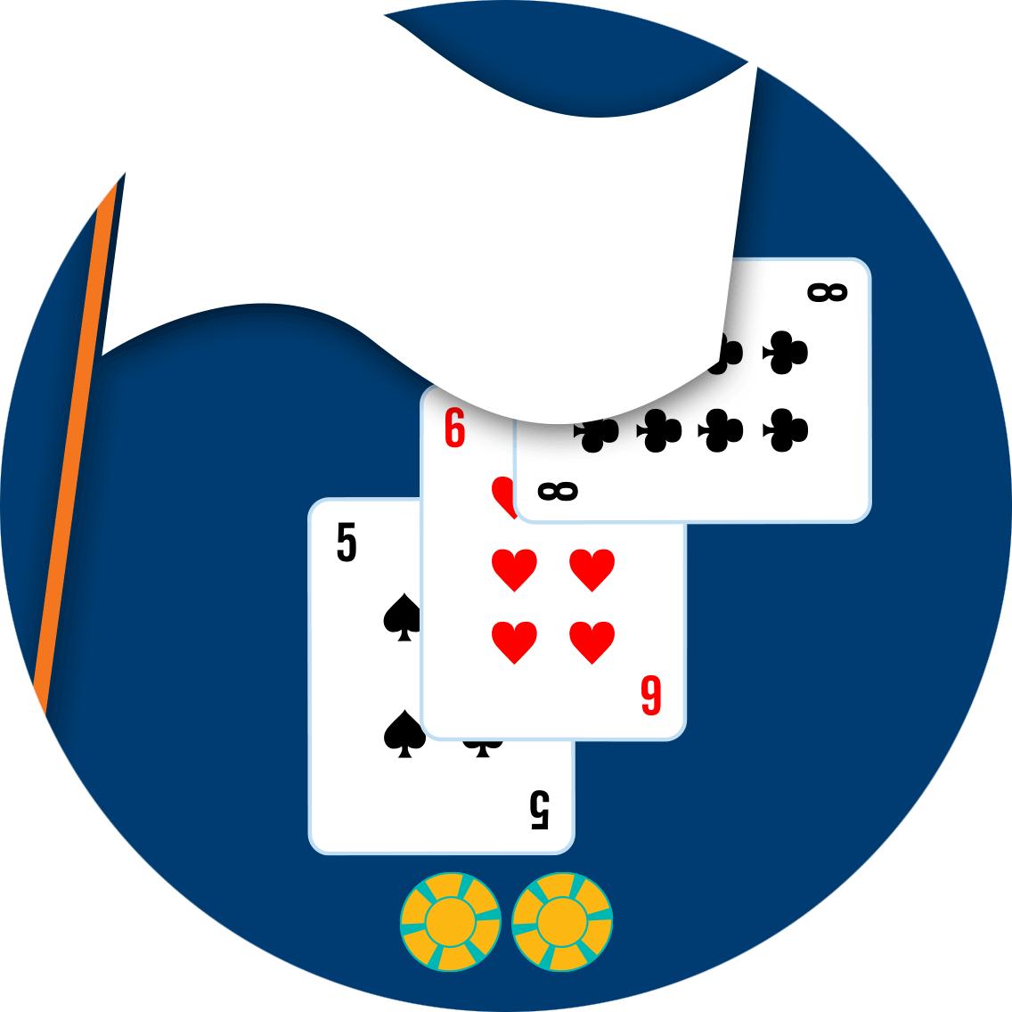 一支白旗象徵取回双倍下注,其后是没有爆牌的双倍下注。