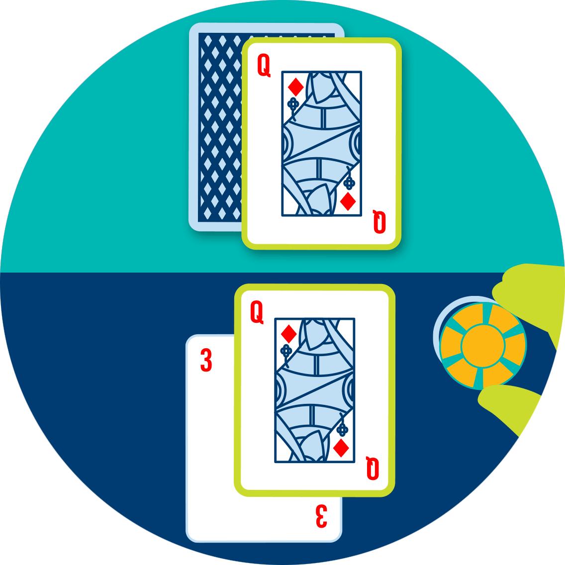 一叠筹码被放在配对发牌官的投注区。