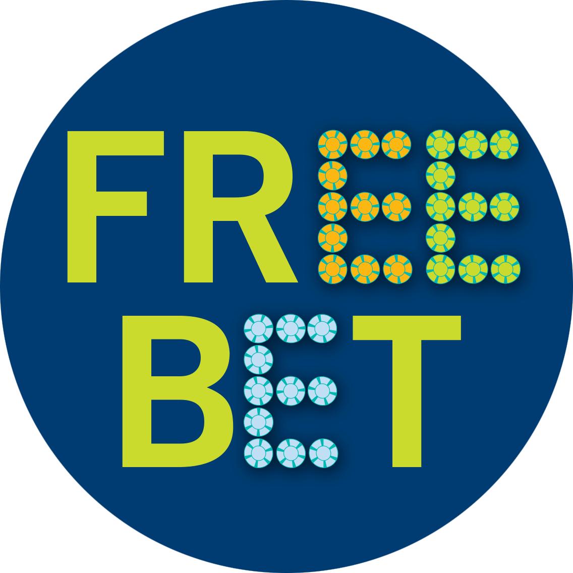 寫着「自由式下注」的英文「FREE BET」,當中的多個E字以籌碼砌成。
