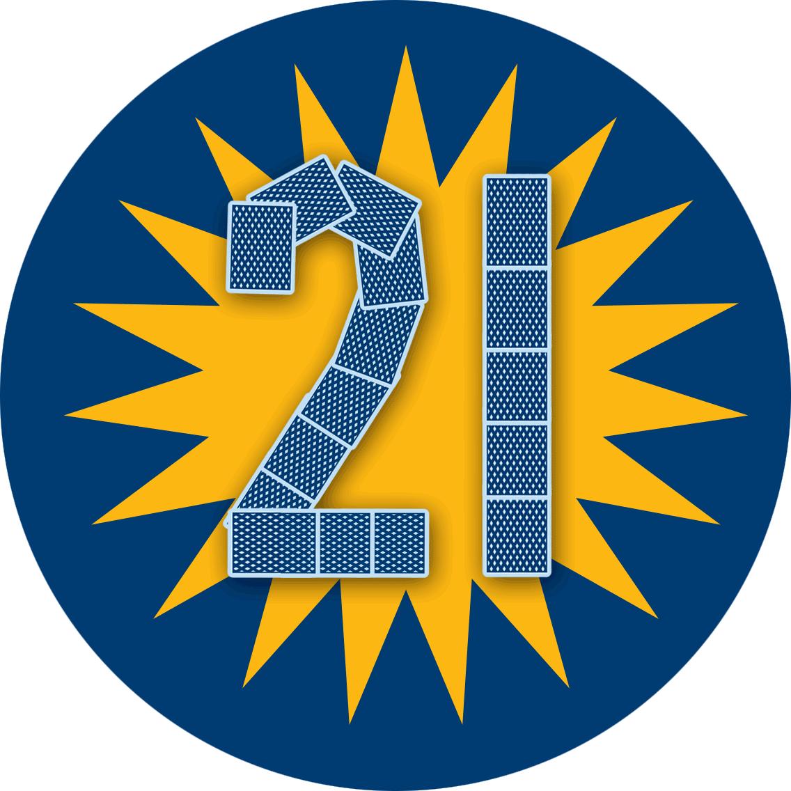 """以卡牌砌成的 """"21"""",背后有一个星状特别奖金标志。"""