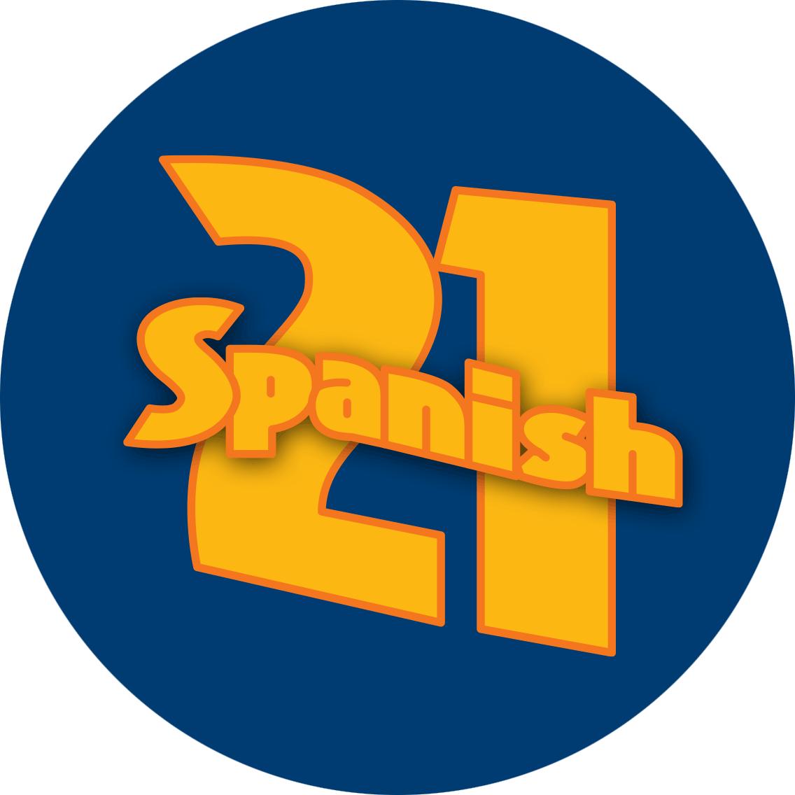 """""""西班牙式""""的英文""""Spanish""""横断式写在""""21""""上。"""