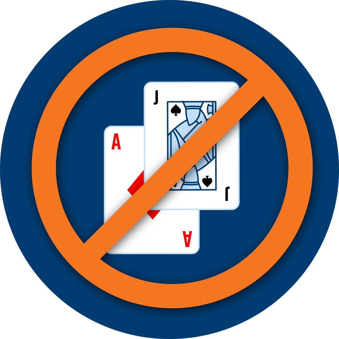 首兩張卡牌以國際禁止標誌被劃去,以示遲降。