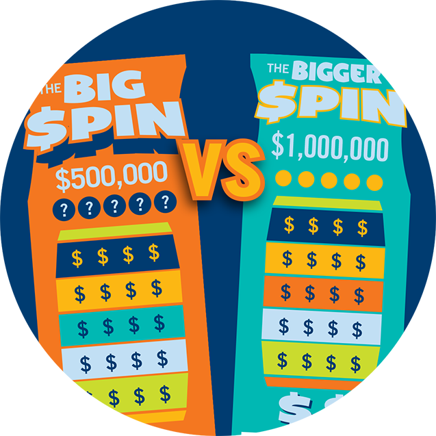 Big Spin and Bigger Spin tickets overlap each other with the words 'VS.' in the middle.