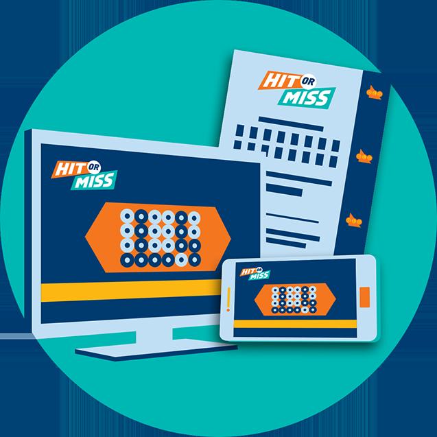 Ordinateur de bureau, fiche de sélection et appareil mobile présentant le jeu HIT OR MISS.