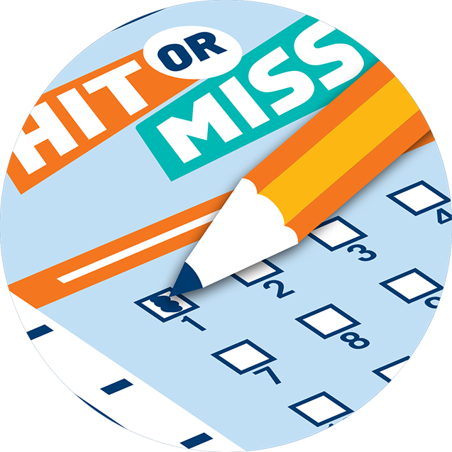 A pencil fills in the number one box on a Hit or Miss selection slip.