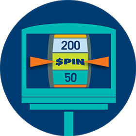 A screen shows a face of a spinning wheel with the word SPIN.