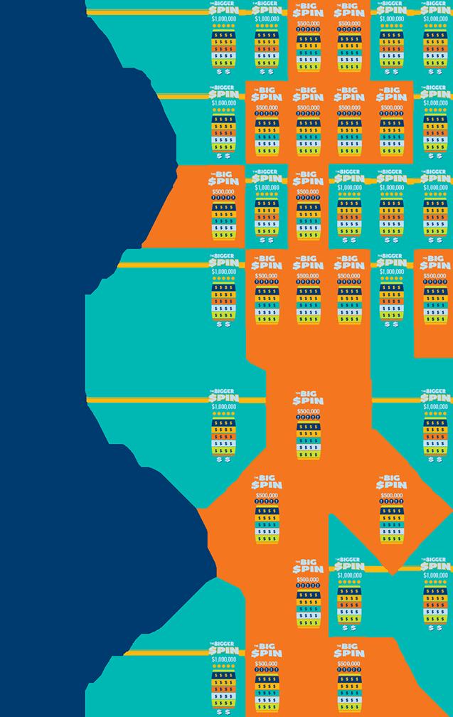 Plusieurs billets INSTANT THE BIG SPIN et THE BIGGER SPIN sur une rangée de billets complète avec Jour 1. Deuxième rangée plus courte avec Jour 30.