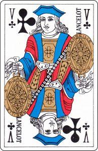 Valet de trèfle d'un paquet français représenté par « Lancelot ».