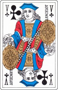 "A French Jack of Clubs with ""Lancelot"" on it."