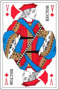 "A French Jack of Diamonds with ""Hector"" on it ."
