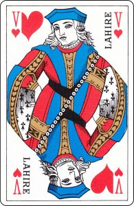 "A French Jack of Hearts with ""Lahire"" on it."