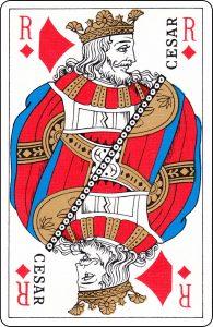 Roi de carreau d'un paquet français représenté par « César ».