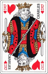 "A French King of Hearts with ""Charles"" on it."