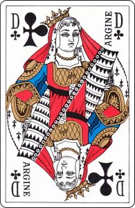"A French Queen of Clubs with ""Argine"" on it."