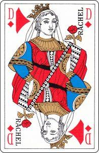 Dame de carreau d'un paquet français représentée par « Rachel ».