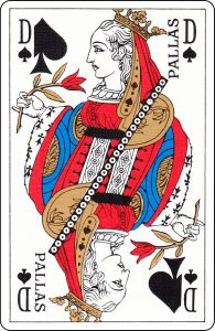 "A French Queen of Spades with ""Pallas"" on it."