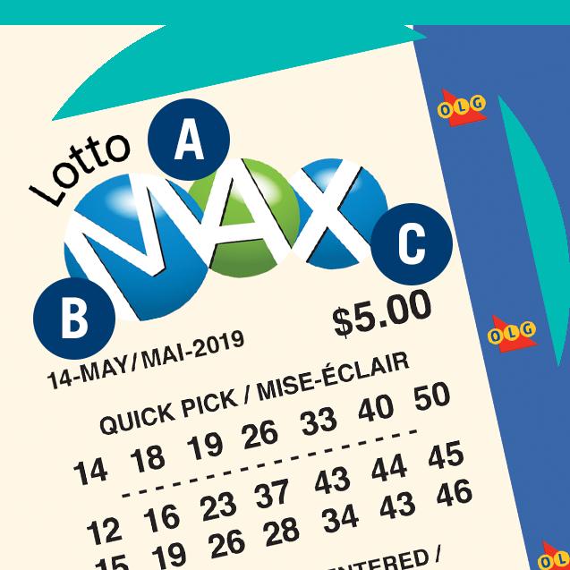 一張LOTTO MAX彩票。字母A在彩票商標上,即彩票名稱上。字母B在開獎日期上。字母C 在彩票價格上。