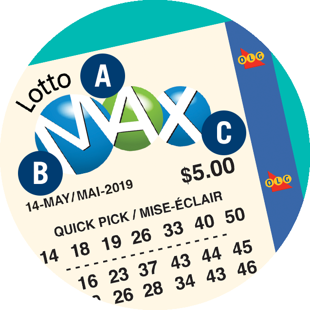 A LOTTO MAX ticket. A is over the logo. B is over the date. C is over the price