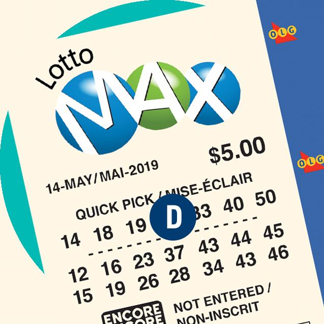 一张 LOTTO MAX 彩票。字母D 在号码组上。