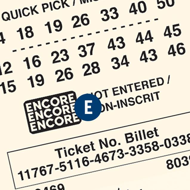 一张LOTTO MAX 彩票。字母E 在 Encore号码组上。