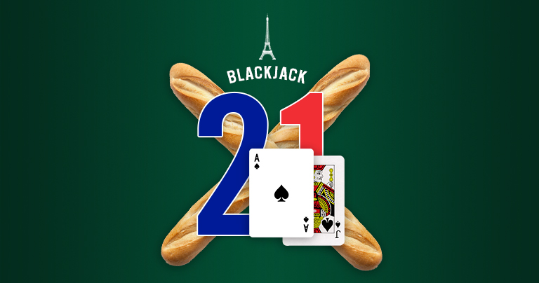 Ace of spades and Jack of spades over the number 21 and two baguettes, with the name Blackjack.