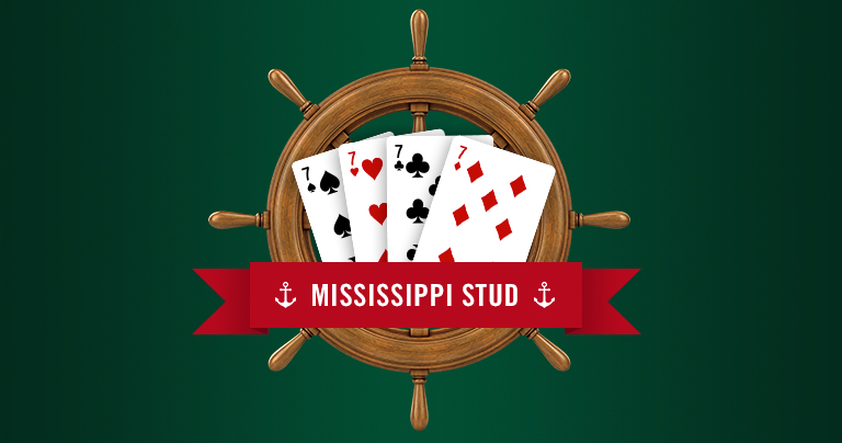 7 of spades, hearts, clubs and diamond fanned across a sailor's wheel with the title, Mississippi Stud.