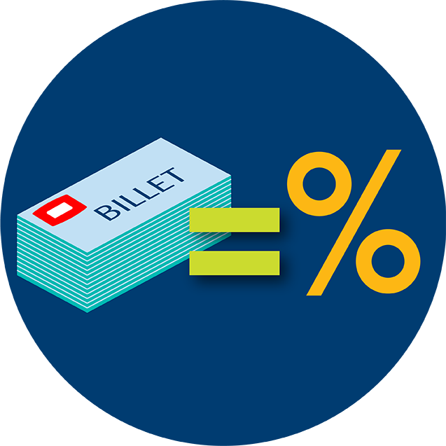 Une pile de billets TapTix qui égale un symbole de pourcentage