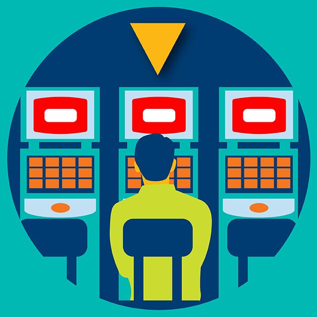 三台 TAP' N PLAY 柜机并排摆放,一个 人坐在中间的柜机 前。中间的柜机上方 有一个黄色箭头,箭 头指向中间的柜机。
