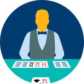 A dealer has five and two cards facing a player's two-card hand.