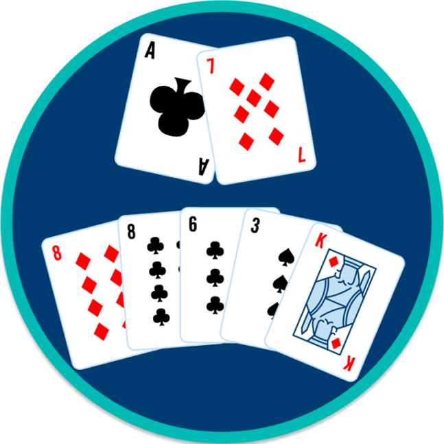 Seven cards are separated into two and five. Two cards on the front and five on the rear.