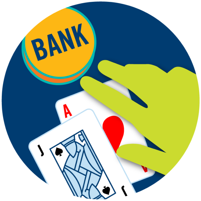 """An Ace and a Jack next to a """"Bank"""" sign with a hand hovering over."""