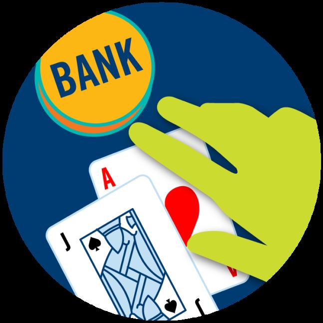 Un as et un valet à côté d'une enseigne affichant le mot « Banque » avec une main qui flotte au-dessus.