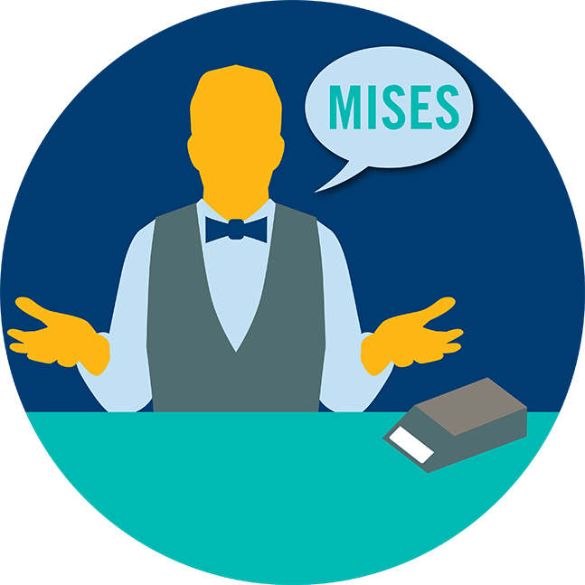 Un croupier avec une bulle de dialogue dans laquelle il y a le mot « Mises »