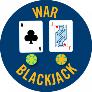 An Ace of clubs and a jack of hearts each with casino chips below it. War Blackjack is written around it.
