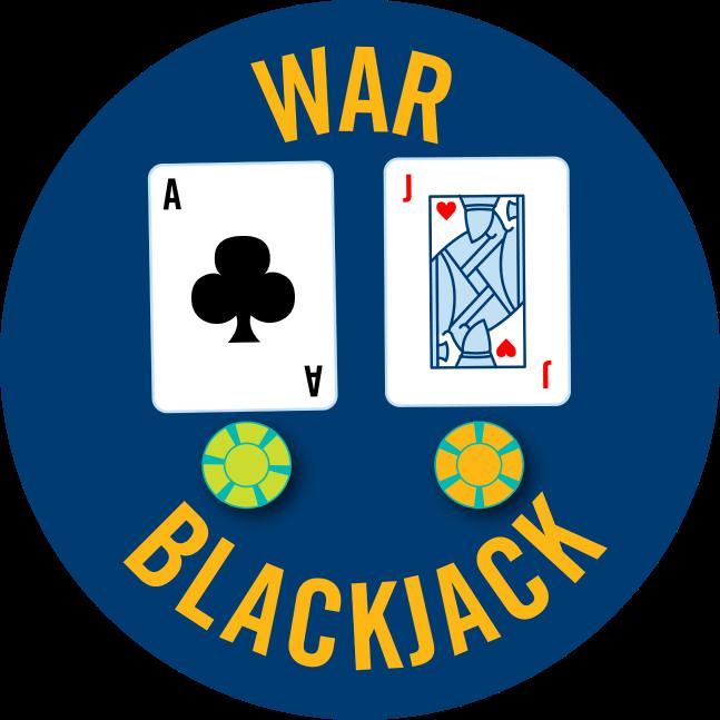 一張梅花A和一張紅桃J牌下面,各一些放著賭場籌碼。上面寫著戰爭21點。