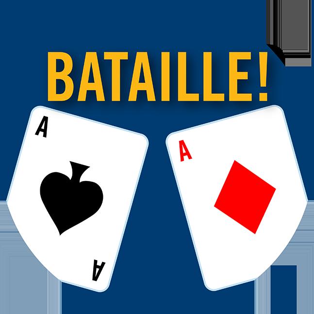 Un as de pique et un as de carreau; le mot « Bataille » est écrit entre les deux