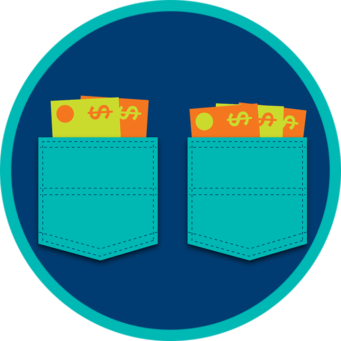 Two separate pockets each with their own set of banknotes.