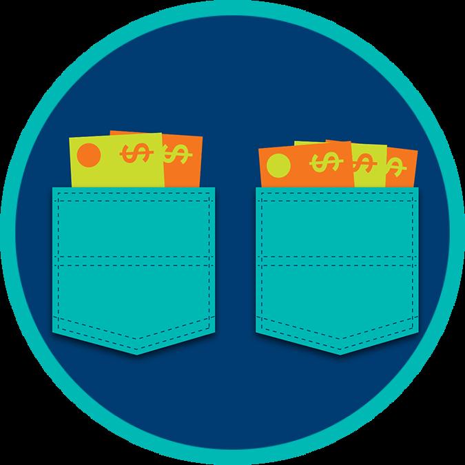 Deux poches séparées contenant chacune des billets de banque.