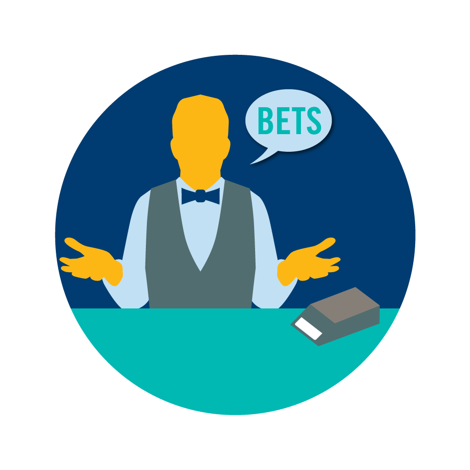 "A dealer with a speech bubble that says ""bets"""
